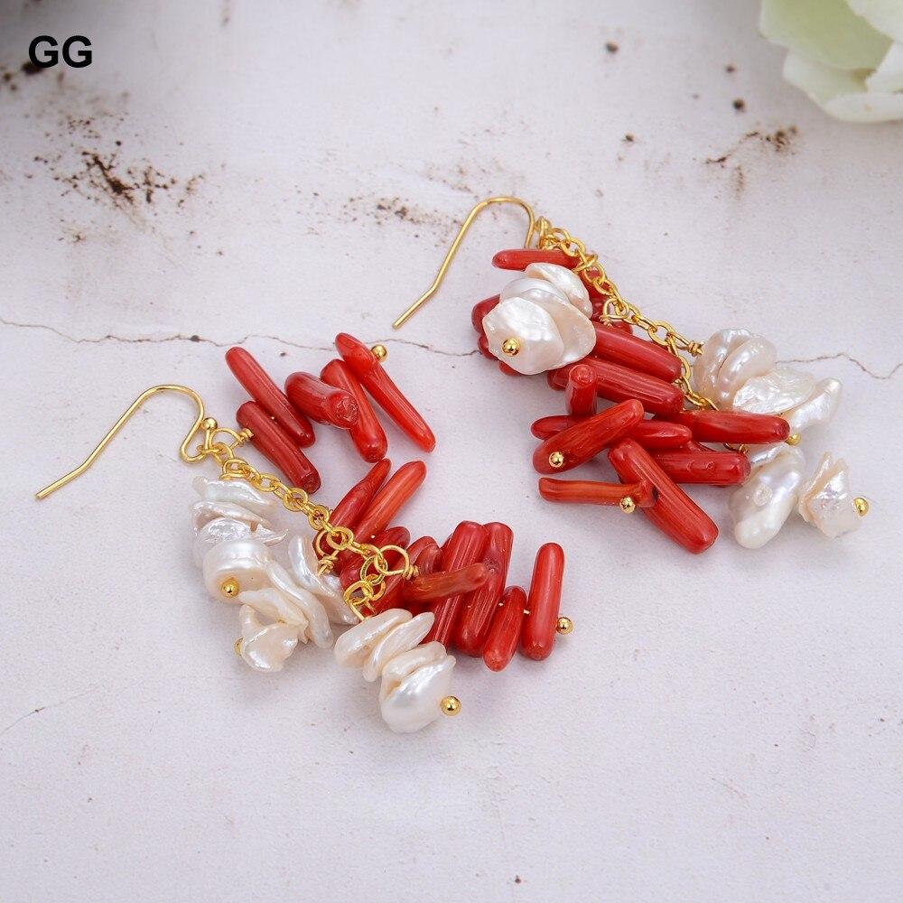 GG Jewelry-pendientes de perlas de agua dulce para mujer, aretes con Chips de Coral rojos, perlas Keshi cultivadas naturales de 10MM, regalo para mujer