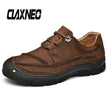 CLAXNEO Man Work Boots Genuine Leather Male Casual Shoes Ankle Boot Mens Walking Footwear Big Size