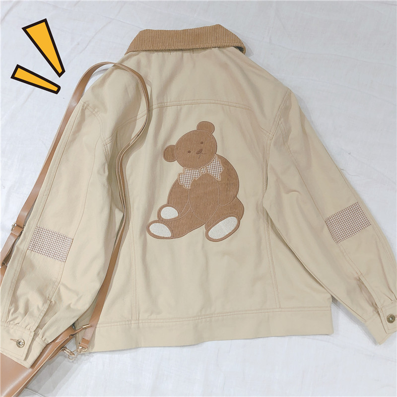 Japanese Women Kawaii Short Coat Loose Wild Casual College Style Spring New Vintag Sweet Bear Patch Embroidery Jacket Mori Girl