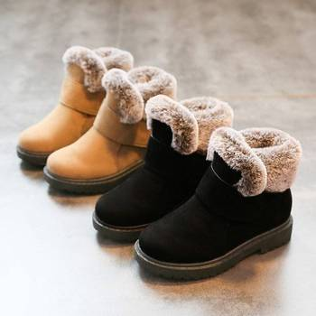 WINTER Children's Martin Boots Winter New Fashion Plus Velvet Warm Boys And Girls Snow Boot Non-slip Soft Bottom Kids Shoes