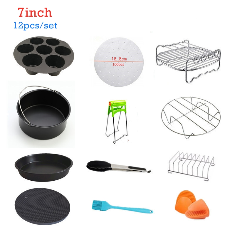 7 Inch 12pcs High Quality Air Fryer Accessories For Gowise Phillips Cozyna and Secura Fit All Airfryer 3.7 to 5.8QT