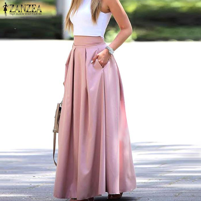 2020 Summer Long Skirts Women Solid Pleated Skirts ZANZEA Casual High Waist Elegant Work OL Maxi Skirt Faldas Saia Skirt Jupe