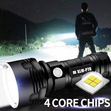 Siêu Mạnh Đèn Pin LED L2 XHP50 Chiến Thuật Đèn Pin Sạc USB Linterna Đèn Chống Thấm Nước Siêu Sáng Đèn Lồng Cắm Trại