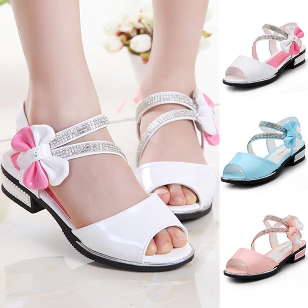 Kids Shoes Sandals Toddler Baby-Girls Children Bowknot Infant Crystal Solid-Color Single