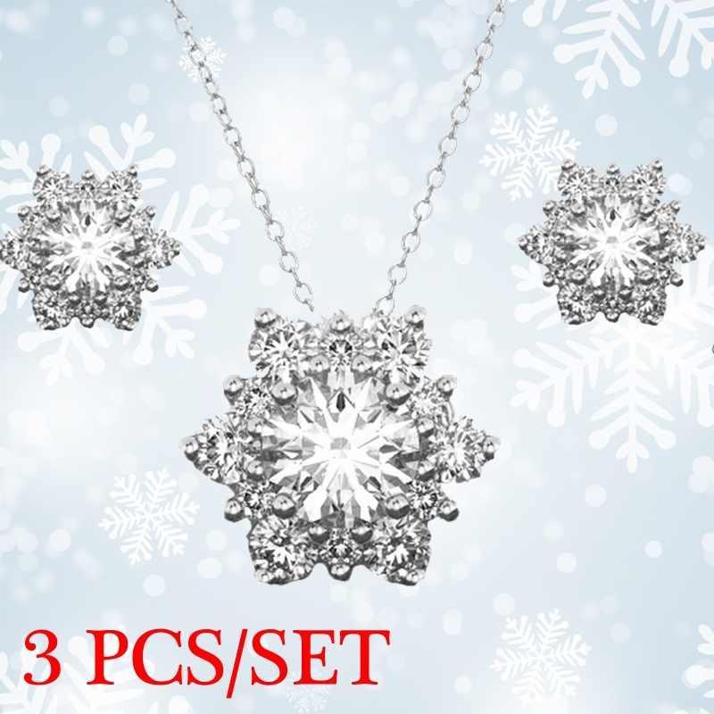 3 ชิ้น/เซ็ตเกล็ดหิมะโบราณสร้อยคอต่างหู Christmas Snowflake เครื่องประดับของขวัญสร้อยคอและต่างหูชุด