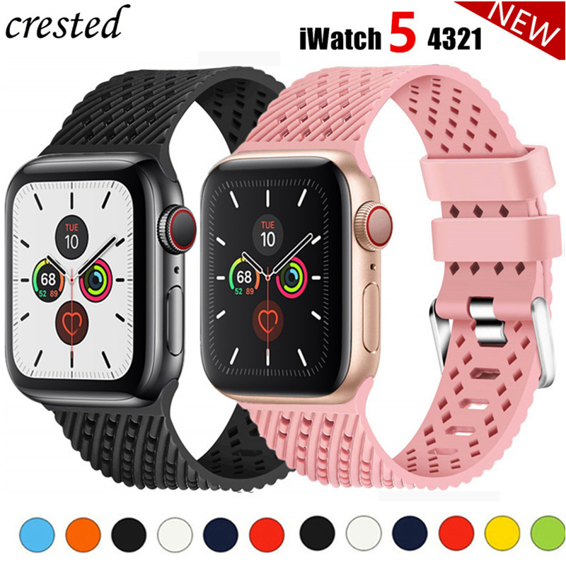 Silicone Strap For Apple Watch Band Apple Watch 5 4 3 Band 44mm 40mm Iwatch Band 42mm 38mm Correa 3D Texture Watchband Bracelet