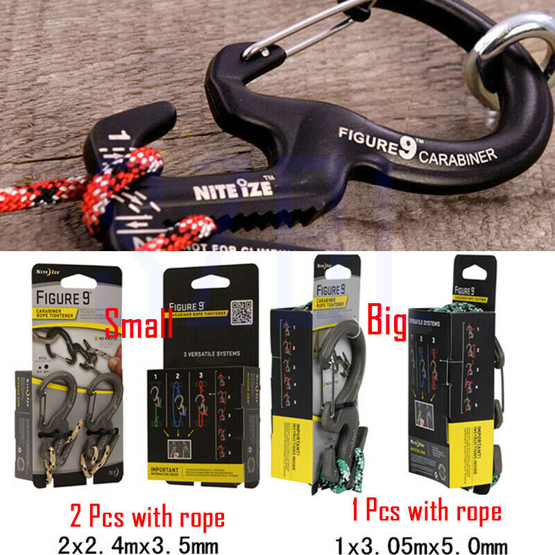 Small Aluminum Rope Tightening Mechanism With Carabiner Clip For Packing Camping