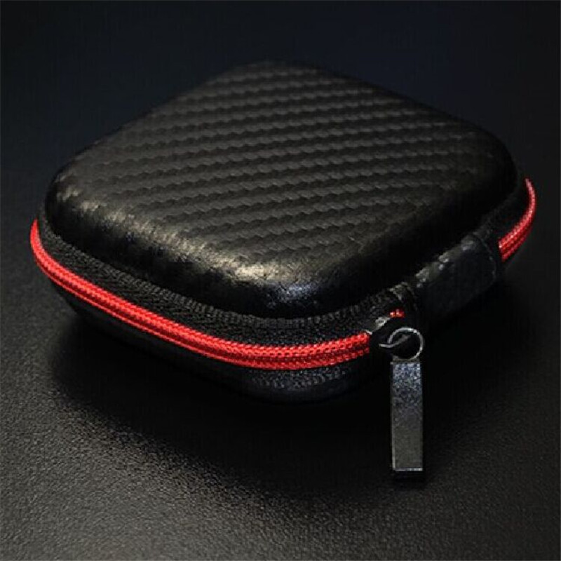 Travel Carrying Case 7.5x7.5x3.5cm Black Coin Container Organizer Eva Earphone Storage Box Bluetooth Headphone Storage Box
