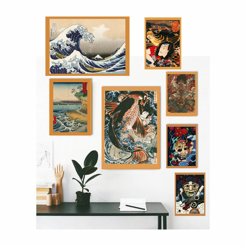Ukiyoe Poster Japan Portrait Canvas Painting Japanese Retro Samurai Asian Warrior Wall Art Home Decoration