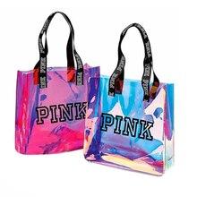 pink travel women bag holographic handbag laser men's bag Tr