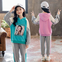 Long Sleeve Casual Girls Sport Suit Kids Cotton 2 Piece Set Tops Pants Hoodies Clothing Set Teenagers Sports Suits for Children new 2016 autumn childrens clothing sets kids girls korean clothes set child star sports suits big girl tops pants 2 suit piece