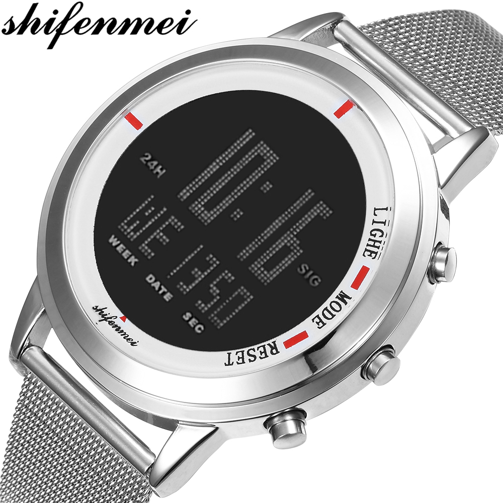 Shifenmei Men Watches Fashion LED Sports Digital Watch Tungsten Steel Clock Waterproof Outdoor Men Wristwatch relogio masculino