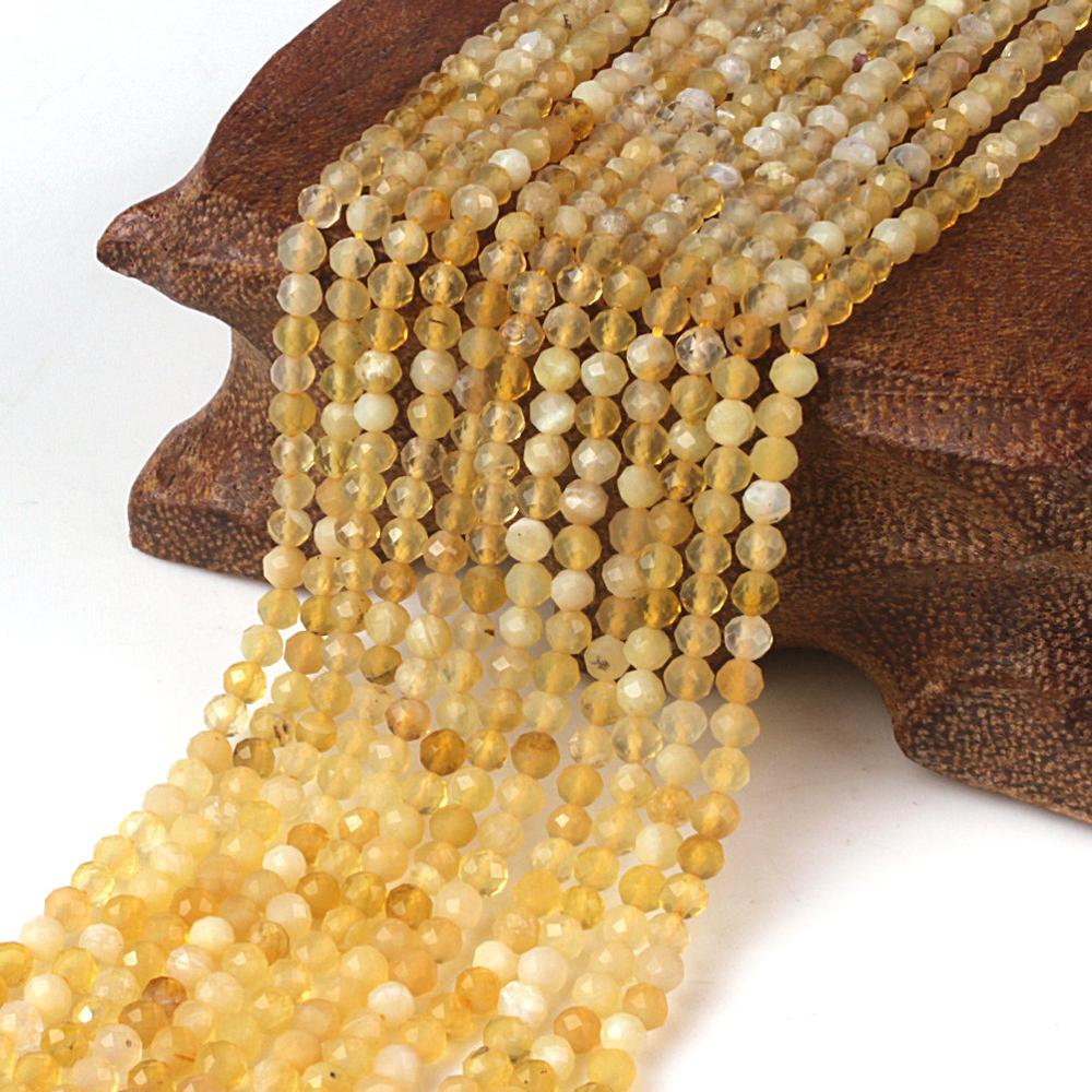 2mm 3mm Yellow Opal stone Natural Round Faceted Gemstone Loose Beads DIY Accessories for Necklace Bracelet Jewelry Making