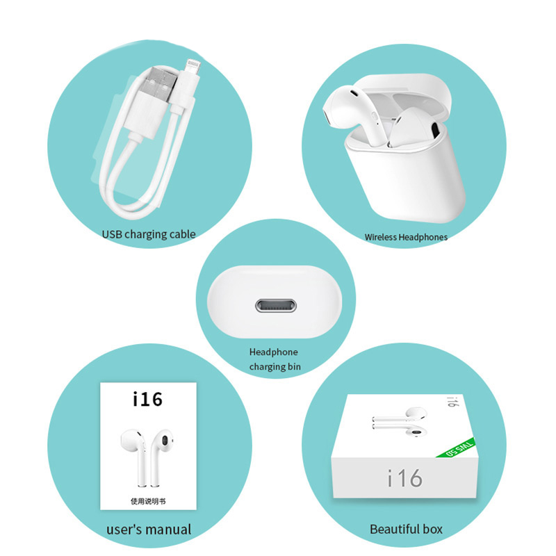 i16 TWS Mini Wireless Bluetooth 5.0 Headphone Earphone Stereo Subwoofer i7s Headphone PK i7s i10 i12 i13 1: 1 i14 i15 i20 i11 i9