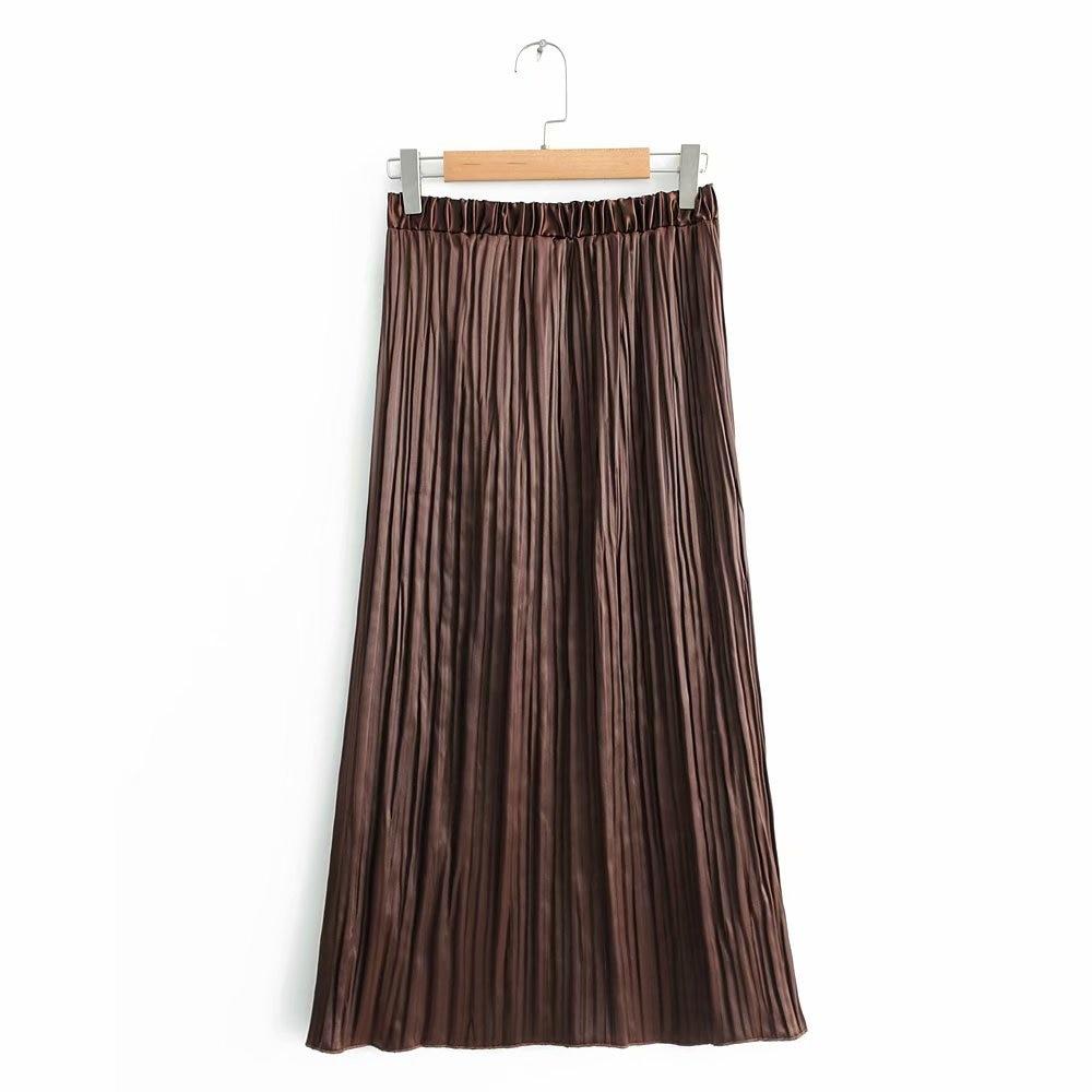 2018 Europe And America Autumn WOMEN'S Dress Slit-Pleated Skirt 9940