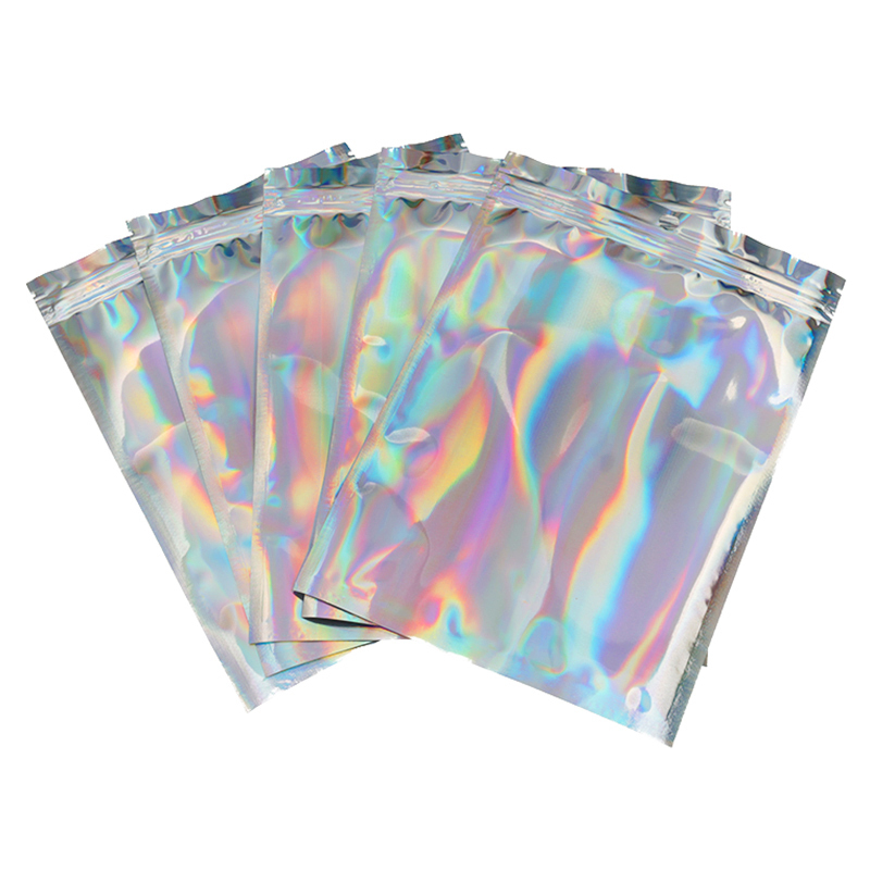 100Pcs/Lot Glitter Heat Seal Laser Aluminum Foil Envelope Bags Portable Retail Package Bag Plastic Foil Storage Bag Dropshipping