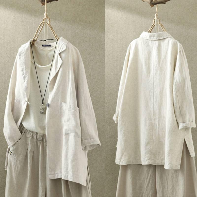 2020 ZANZEA Women's Blazers Stylish Solid Cardigans Button Coats Blusas Female Lapel Work Tunic Casual Outwear Plus Size Shirts