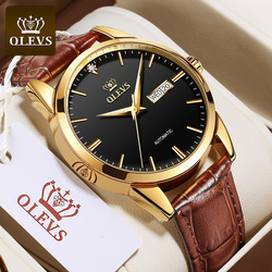 OLEVS Men's Watches Luxury Leather Mechanical Watch Classic Business Men Automatic Watch Waterproof Clock Man Relogio Masculino