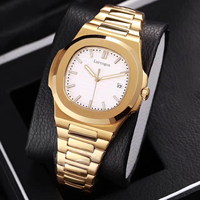 Yellow gold mens mechanical watches sapphire glass black dial stainless steel bracelet sports watch Glide sooth second hand wris