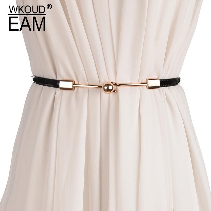 WKOUD EAM 2020 New Simple Wild Lady Fine Waistband Genuine Leather Belt Korea High Quality Dress Waist Chain Tide PE079