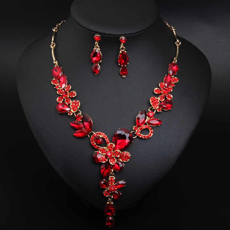 Gota De Cristal De Collares Y Colgante De Oro Rojo Boda Dama de honor Baile de Graduación Cumpleaños 842