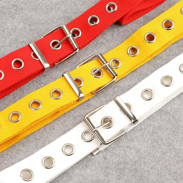 Long Personality Harajuku Casual Ring Black Metal Belt Students Jean Canvas Waist Belts Tide Silver Pin Buckle 10