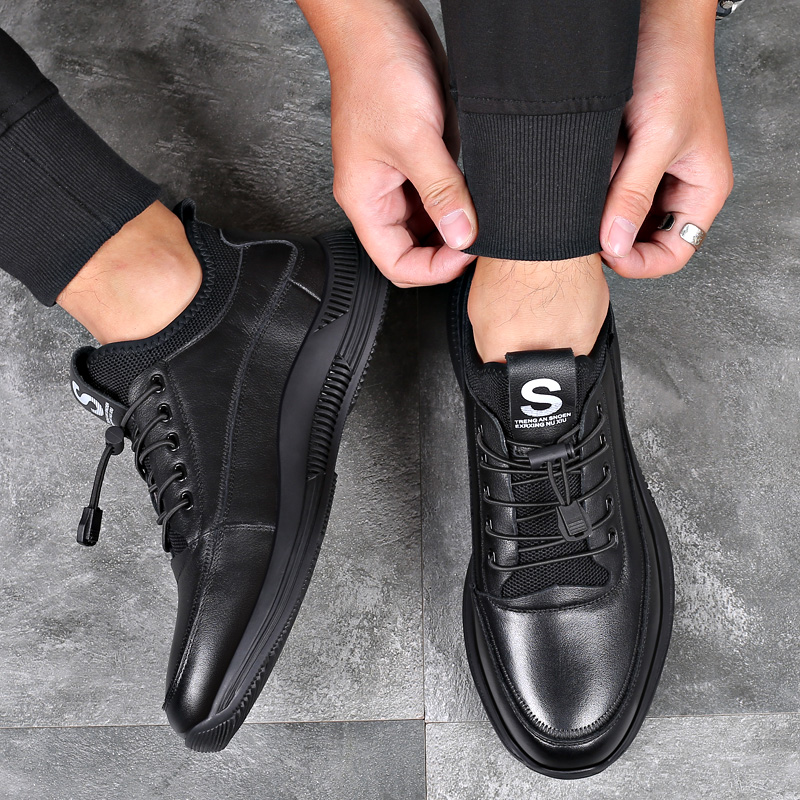 Misalwa Elevator Shoes for Men Casual Cow Leather Sneakers Black Designer Shoes Zapatos Elevadores Lofer Shoes