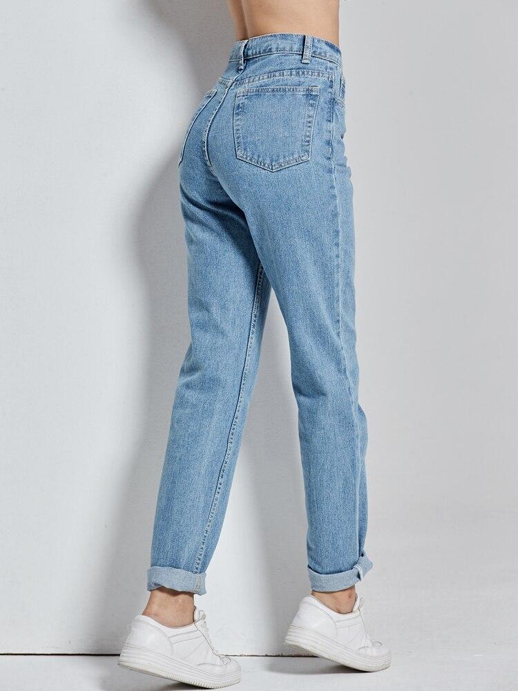 Mom Jeans Harem-Pants Boyfriends Cowboy Vintage High-Waist Full-Length Mujer Vaqueros