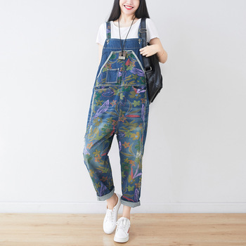 Stylish Print Floral Jeans Jumpsuit for Women Summer 2020 Plus Size Denim Overalls Casual Loose Baggy Bib Pants With Pockets цена 2017