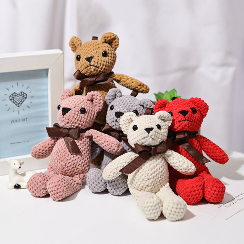 16CM Cute Mini Bear Stuffed Plush Toys For Children PP Cotton Soft Stuffed Dolls Pendant Wedding Party Decor Birthday Gift 1Pcs
