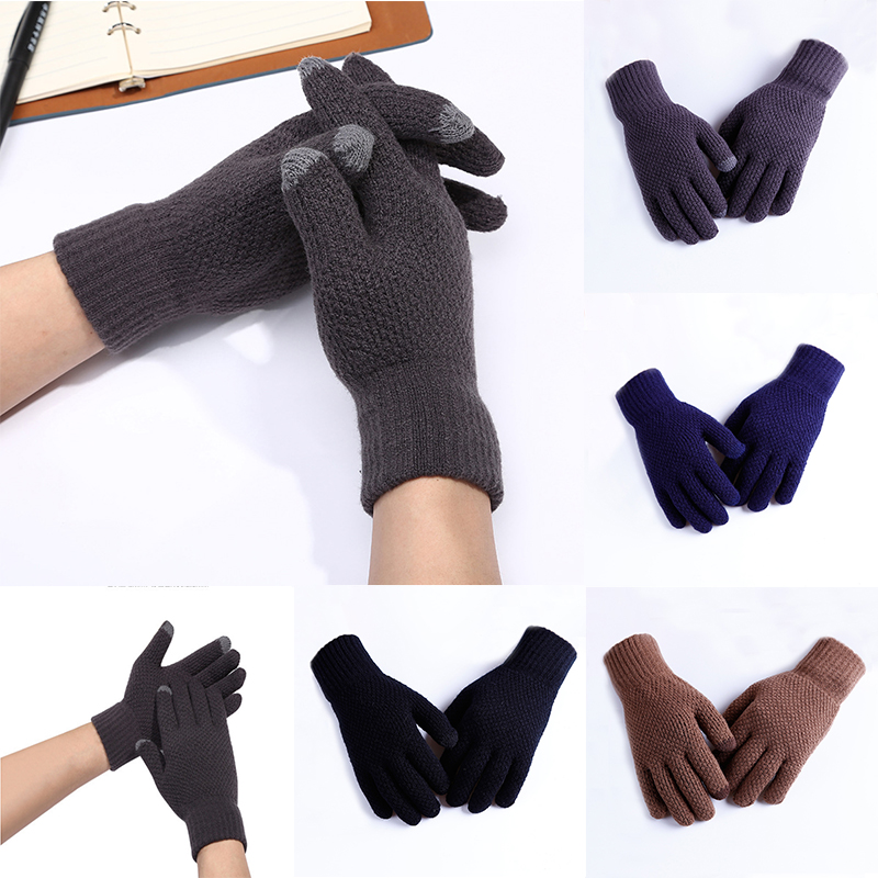 Fashion Men Winter Gloves Warm Knitted Gloves Stretch Mittens Full Fingers Touch Screen Soft High Quality Thicken Fingers Gloves