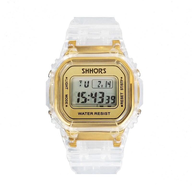 Image 2 - Fashion Men Women Watches Gold Casual Transparent Digital Sport Watch Lover's Gift Clock Waterproof Children Kid's Wristwatch-in Women's Watches from Watches