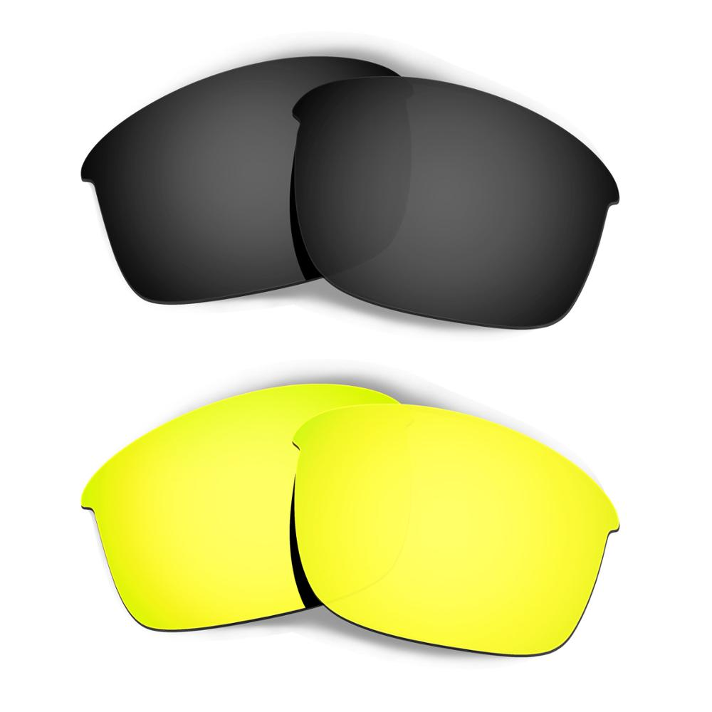 HKUCO For Bottle Rocket Sunglasses Replacement Polarized Lenses 2 Pairs - Black & Gold