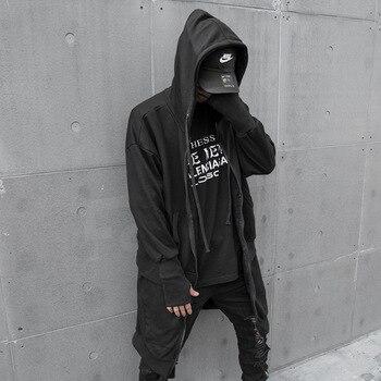 Male Streetwear Hip Hop Punk Hoodie Jacket Outerwear Men Autumn New Long Style Zipper Hooded Sweatshirt Coat