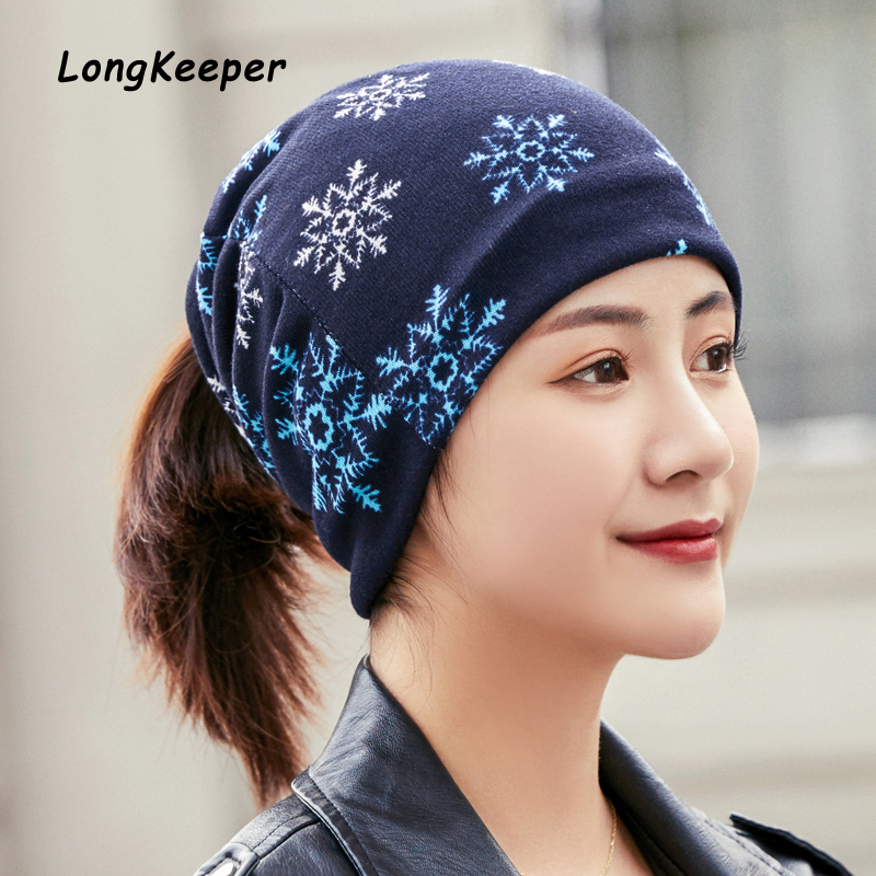 LongKeeper Luxury Brand Winter Hats For Women Headwear Hedging Cap Snowflake Pattern Scarf Caps Gorros Mujer