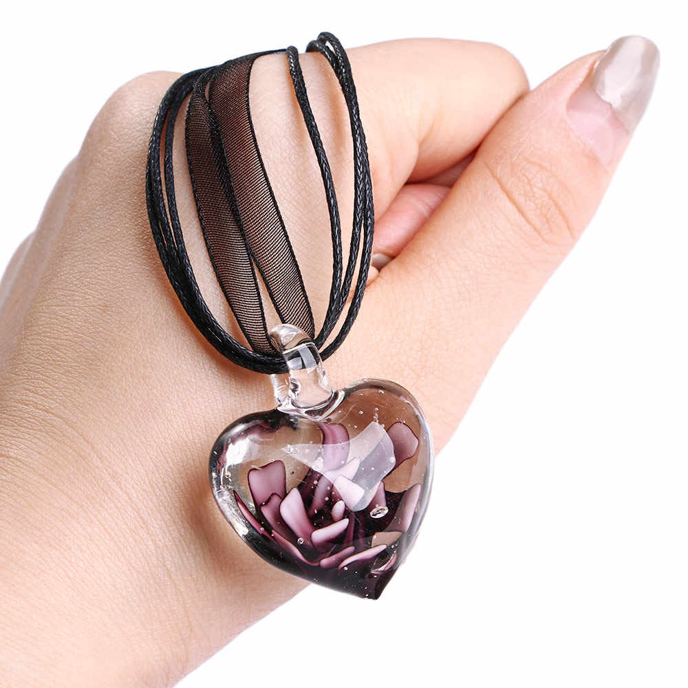 الجملة 1 قطعة قلادة القلب الزجاج اليدوية الوردي المجففة دوامة زهرة الشريط قلادة مطعمة مجوهرات للنساء الفتيات مورانو هدية