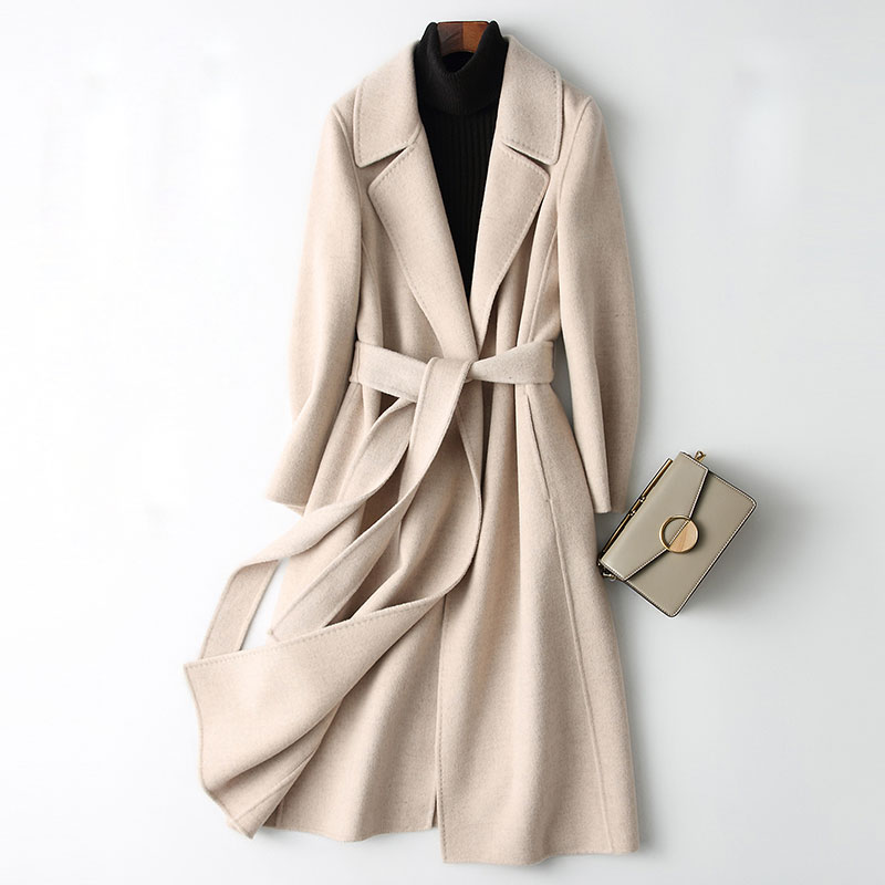 New Double-faced Wool Blends Coat Women Autumn and Winter 2019 Fashion Turn-down Collar Slim Long Wool Outerwear