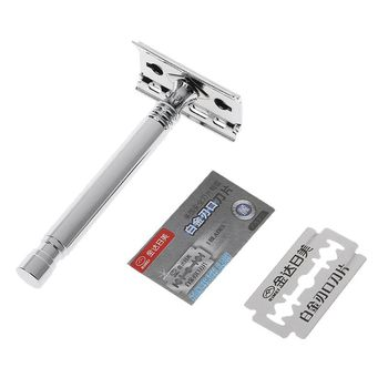 1 Set Safety Manual Razor Double Edge Blade Replacement Men Beard Trimming Facial Hair Mustache Remove Home Accessory 1