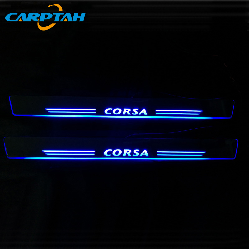 CARPTAH Trim Pedal Car Exterior Parts LED Door Sill Scuff Plate Pathway Dynamic Streamer light For Opel Corsa B <font><b>D</b></font> E 2008 - <font><b>2019</b></font> image