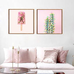 Розовый цветок мороженое кактус декоративная живопись дома гостиная стены вход вешается на стену wu kuang hua xin