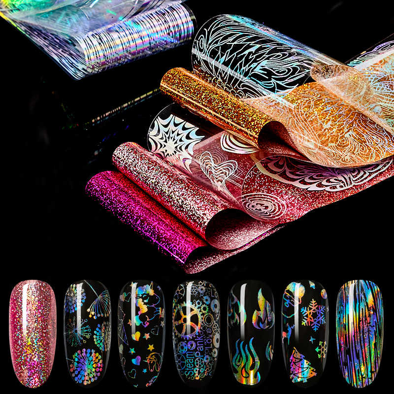 Vier Lelie Holografische Nail Folie Polish Stickers Transfer Sterrenhemel Laser Sliders Transparante Nail Art Decal Manicure Decoratie