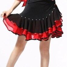 Women Latin Dance Skirt Ballroom Salsa Tango Rumba Dancewear Swing Ruffle 904-B069