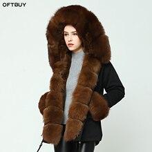 Oftbuy 2020 Parka Winterjas Vrouwen Grote Natuurlijke Real Fox Bontkraag Warme Dikke Parka Bovenkleding Winterjas Vrouwen Bont jas