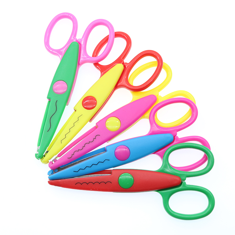 Cute Candy-Colored Plastic Lace Scissors Kindergarten School Handmade Decoration Jagged Supplies Student Stationery Gifts