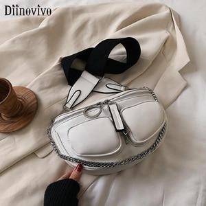 DIINOVIVO Metal Chain Chest Bag Solid Color Women Bags Lady Banana Bag Vintage Crossbody Bag 2020 New Waist Bag Winter WHDV1489