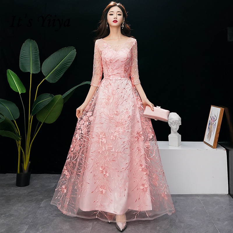 It's Yiiya Evening Dress O-neck Embroidery Evening Dresses Pink Plus Size LF176 Formal Gowns Long Half Sleeve Robe De Soiree