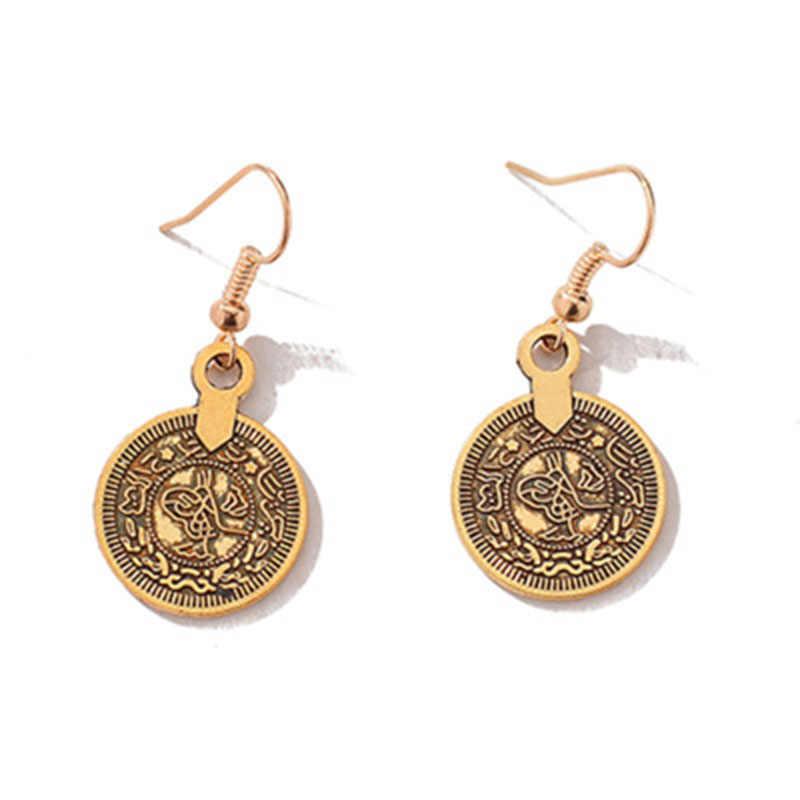 แฟชั่น Vintage Drop ต่างหูอินเดียอียิปต์เหรียญพู่จี้ Dangle ต่างหูเครื่องประดับของขวัญ Party WD402