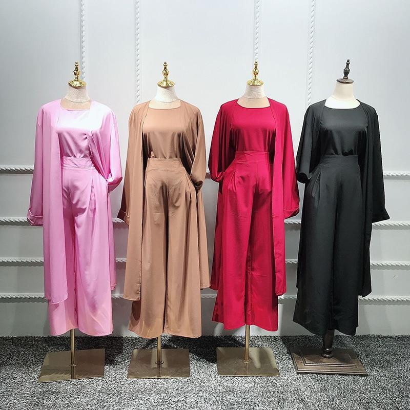 Three piece Abaya Turkish Kimono Tops Pants Muslim Dress Abayas Hijab Robe Dubai Caftan Kaftan Islam