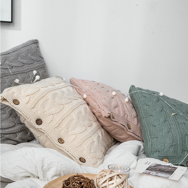 Cream Nordic Knitted Cushion Covers 2