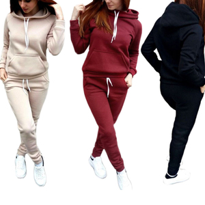 Casual Tracksuit Women Hoodie Sweatshirt And Drawstring Pants Women Clothes Set Warm Autumn Female 2 Piece Set Plus Size